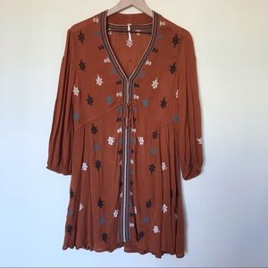 Free People Embroidered Long Sleeve Dress